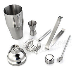 Wholesale Set Stainless Steel Cocktail ml Shaker Jigger Mixer Ice Strainer Clip Spoon