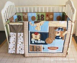 Wholesale 3D stereo embroidery Bear Animal baseball team combined infant cotton bedding Quilt Bumper Sheet Skirt Mattress Cover Diaper bag