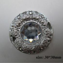 Wholesale CM175 mm Round Silver Tone Acrylic Clear Buckle For Wedding Invitation Card Chair Sash Ribbon Slider