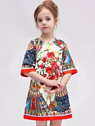 Wholesale Girl Summer Dresses New Designer Floral Print Folding Fans Italy Luxury Brand Baby Girls Prom Dresses