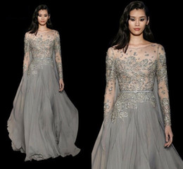 Elie Saab Sexy Elegant Beading Evening Dresses 2017 Embroidery Party Evening Gown Custom Made Long Sleeve Formal Dress