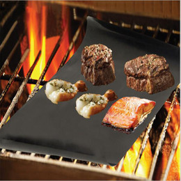 Wholesale 33x40cm Nonstick Teflon BBQ Grill Mat Baking Cooking Accessories Hot Plate Pads for Food Roast Meat Vegetable Repeated Use A loaded
