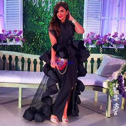 Detachable Special Evening Gowns Split Front Ruffles Sheath Black Dresses Party Evening Plus Size Formal Prom Dresses
