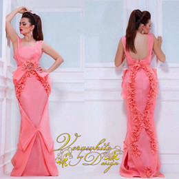 New Arrival Coral Backless Evening Dresses 2016 Elegant Hand Made Ruffle Backless Sweep Train Mermaid Party Gowns vestido de festa