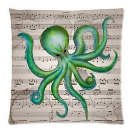 2017 New Ghost Green Octopus and Retro Style Music Note 45X45 CM Soft Pillowcase cushion case
