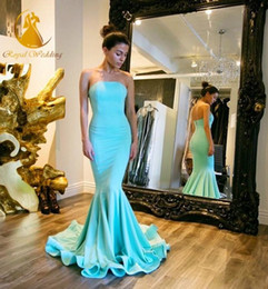 2016 Strapless Evening Dresses Sexy Mermaid Floor Length Arabic Evening Prom Gowns Custom Made
