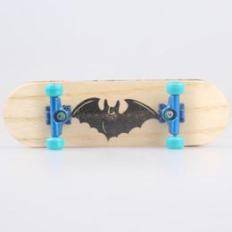 Wholesale New Professional Bat Pattern Wooden Finger Skateboard Nickel Alloy Stents Bearing Wheel Fingerboard Novelty Mini Skate Toy