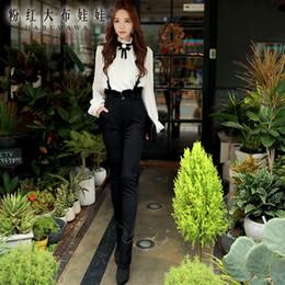 Wholesale Dabuwawa New Office Lady s Elegant Ruffles High Waist Slim Long Black Adjustable Suspender Pencil Pants