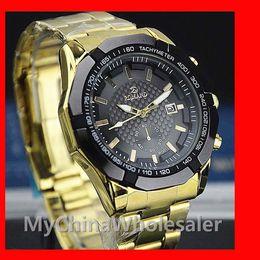 Wholesale Luxury Stainless Steel Watch for Men Metal Wrist Watches Fashion Luxury Gold Crystal Quartz Rhinestone Date Gentle Men Wrist Watch