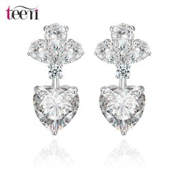 Wholesale Teemi Jewellery Stores Statement Luxury Wedding Bridal Drop Heart Earrings White Gold Plated Clear Cubic Zircon Discount Jewelry for Women