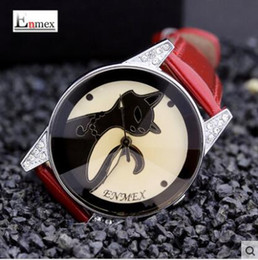 New Arrivals spring fashion Enmex Young assertive kitten watch strap red paint light natal kittens female audemar activity cute litty watch