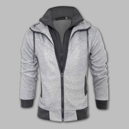 Fall-New Fashion Brand Men's Clothing,Double Layer Zipper-Up Men's Hoodies Jackets Male,Sports Casual Men's Fleece Hoodies