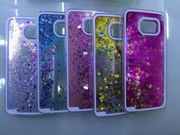 Wholesale Transparent Liquid dynamique Glitter couleur sable Paillette Quicksand Étoile Retour Housse pour Samsung Galaxy S6 S6 G9200 cas téléphoniques de pointe