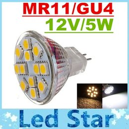 2017 gu4 conduit CE ROHS UL + MR11 GU4 projecteurs LED 12 Leds SMD 5050 5W Led Ampoules Lumières 12V haute luminosité 350Lumens chaud / froid White Energy Saving promotion gu4 conduit