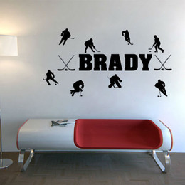 Wholesale 88cm cm Custom Name Hockey Players Wall Sticker Boys Bedroom Vinyl Kids Decal Vinyl Decoration Cute Decor For Kids Room