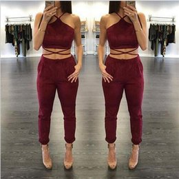 Wholesale Show Bandage Dresses - 2 Pcs Set New Collection Women and Big Girls Sleeveless Top + Pant Women Night Out Club Show Outfits Sexy Bandage Sets Clothes B