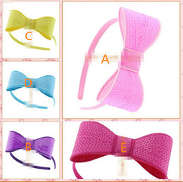 Wholesale 30 off New colors Boutique quot Large Knot Applique Neon Sequin Bow Christmas Hiar Band Girl Beauty Bows Hair Accessories Headwear