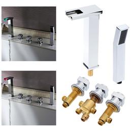 Wholesale 5 set Modern Bathroom Faucet Spout Valve Hand Shower Set Bath Taps Roman Tub Chrome Finish Color Waterfall Bathtub Faucets H16181