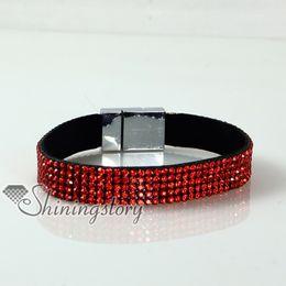 leather crystal rhinestone snap wrap slake bracelets personalized leather fashion leather