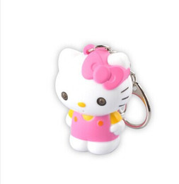 12 pcs lot Keychain Sound Flashlight Wholesale 3D LED Animal Hello Kitty Keychain LED promotion keyring with Sound
