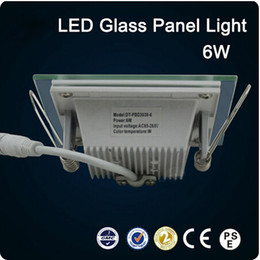 6W Square LED glass Square Panel Recessed Wall Ceiling Downlight AC85-265V high bright SMD5730 LED indoor light