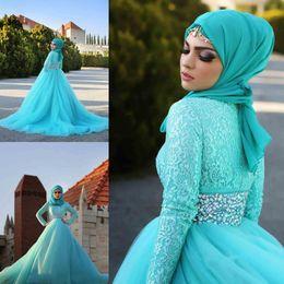 Wholesale 2015 Custom Made Long Sleeves Muslim Wedding Dresses Beads Rhinestones Sash Tulle Lace Arab Islamic Wedding Gowns Vestido De Noiva Muslim