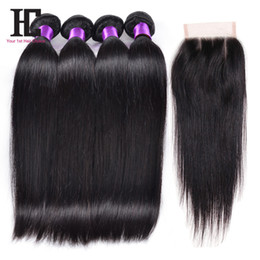 Brazilian Straight Hair With Closure 4 Pcs Human Hair Bundles With Closure Natural Color Unprocessed 7A Brazilian Virgin Hair With Closure