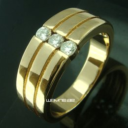 Size 8-10 Jewelry Man 18k clear Sapphire Gold Filled Wedding Ring Gift (r264)