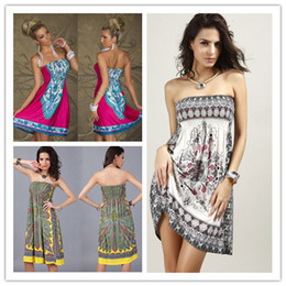 New Women Summer Strapless Printed Dress Ladies Meryl Sexy Backless Sleeveless Casual Dresses Fashion Womens Clothing
