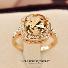 Rose Gold Color Royal Design Square Champagne Crystal Lady Finger Ring Wholesale