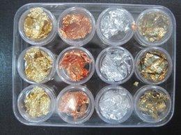[AJ506] 12 pots Or Argent Cuivre Foil Paillette Chip Couleurs Nail Art Glitter Foil Décoration à partir de ongles glitter pots fournisseurs