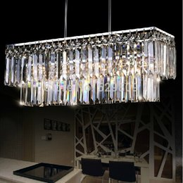 Wholesale-rectangle design modern crystal chandelier for dining room lustres e pendentes indoor lighting guaranteed 100%