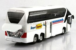Wholesale New Airport passage express bus model diecast car model doors open sound amp light bus action toy vehicles