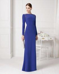 Wholesale Royal Blue Evening Dresses Bateau Long Sleeve Special Dress Lace Applique Sheath Formal Bridesmaid Gown Floor Length Aire U155