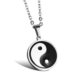 Wholesale Chinese Silver Necklaces - Chinese style Tai Chi Pendant Popular Titanium Steel Women Men Necklace Jewelry Classical Design Birthday Gift