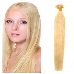 Fusion des extensions de cheveux ongles pointe des cheveux pré extensions de cheveux de kératine collées # 60 Platinum Blonde les cheveux raides 18