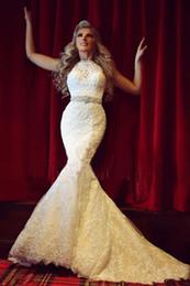 New Popular High Neck Wedding Dresses Hollow Back Mermaid Lace Beaded Belt 2019 Modern Design Bridal Gowns High Quality Custom Made