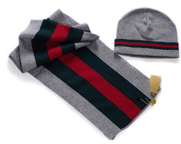 Wholesale Sell Designer Classic Wool Striped Scarf Beanies Set Men s Winter Flat Knitting Scarf Beanies Caps Sets Best price Quality Hot