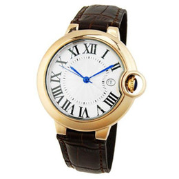 Wholesale New arrival luxury watch Classic C Pattern men watches Blue Round balloon Dial Leather Band Mens Wristwatch with Date