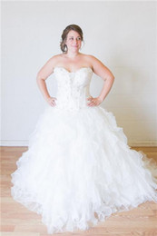 Plus Size Wedding Dresses Sweetheart Lace Appliques Beaded Corset Gorgeous Organza Ball Gown Dreamy Tiered Skirt Cathedral Train Ball Gown