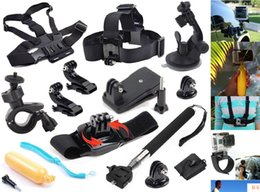 Wholesale 12 in GoPro Accessories Set Go pro Wrist Strap Helmet Extention Kits Mount Chest Belt Mount Bobber For Go pro Hero