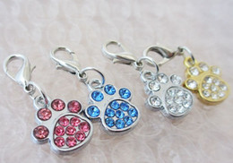 Wholesale zinc alloy Paw prints rhinestone pendant charms diy Pet Tag
