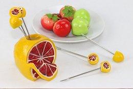Wholesale set Fashion Creative Stainless Steel Fruit Forks Cake Dessert Fork Tools Lemon Apple Banana Vegetable Cutlery