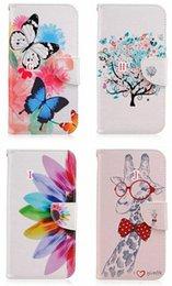 Wholesale Butterfly Flower Eye Bear Feather Giraffe Cartoon Wallet Leather For Galaxy J5 J510 J1 J120 J3 PRO LG G5 Card Slot Case Pouch