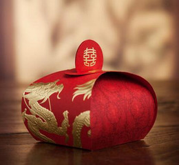 100pcs Chinese red Wedding Carton Candy Box ribbon Hot stamping dragon and phoenix Laser Cut Candy Gift Boxs Wedding Party Favor Boxs TH168