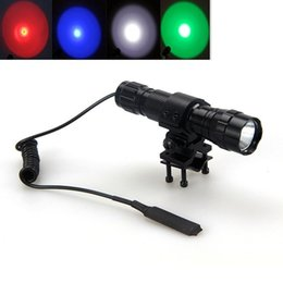 Wholesale UltraFire Lm CREE T6 LED Tactical Hunting Flashlight Red Green Blue light Picatinny Rail Mount Light Torch Pressure switch