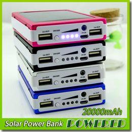 Wholesale -New 20000 mAh Solar Battery Panel external Charger Dual 20000mah solar Charging Ports 5 colors choose for