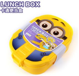 Wholesale 2015 New ml Kids Despicable Me Lunch Box Bento Case with Spoon Dinnerware Set Minions Bowl Children Cartoon Lunch box Christmas gift Hot