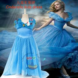 Cenicienta niños vestido del partido en Línea-2015 vestidos cenicienta Girls V cuello partido de la bola plisado vestidos de fiesta vestidos de ropa nueva película Kids Verano Azul colmena de los niños del vestido formal