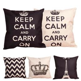 Wholesale BEST Linen Cotton Europe Style Keep Calm Letter Crown Cushion Cover Pillow Case Cushion Cover Home Sofa cm